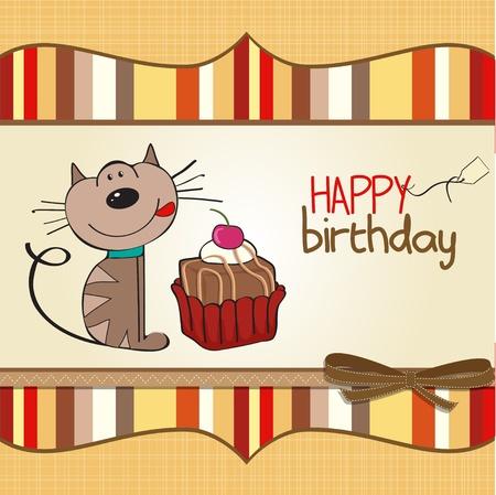 childish: Поздравительная открытка с кошкой ожидания, чтобы съесть торт