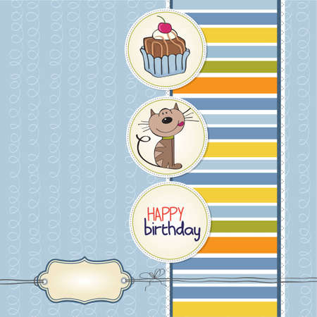 birthday greeting card with a cat waiting to eat a cake Stock Vector - 12703980