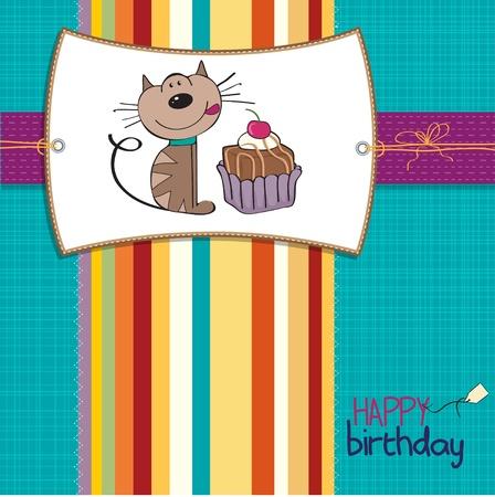 미니: 고양이는 케이크를 먹고 기다리고 생일 축하 카드