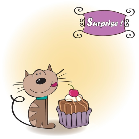 birthday greeting card with a cat waiting to eat a cake  Stock Vector - 12704308