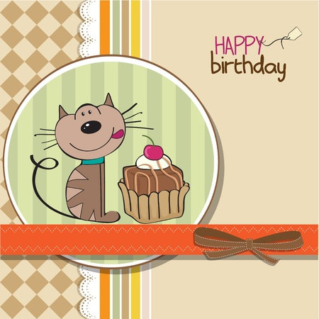 felicitaciones de cumplea�os: tarjeta de felicitaci�n de cumplea�os con un gato esperando para comer un pastel Vectores