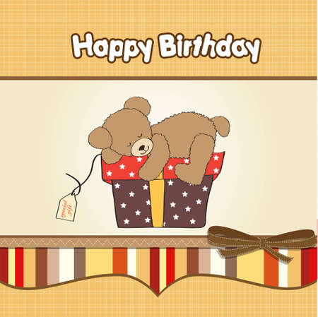 birthday greeting card with teddy bear and big gift box  Vector