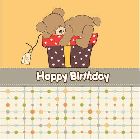baby bear cartoon: birthday greeting card with teddy bear and big gift box