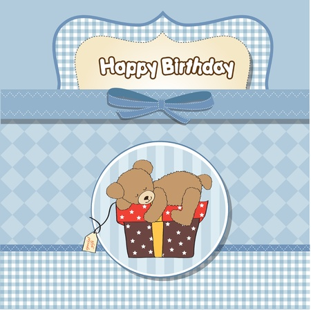 climbed: birthday greeting card with teddy bear and big gift box