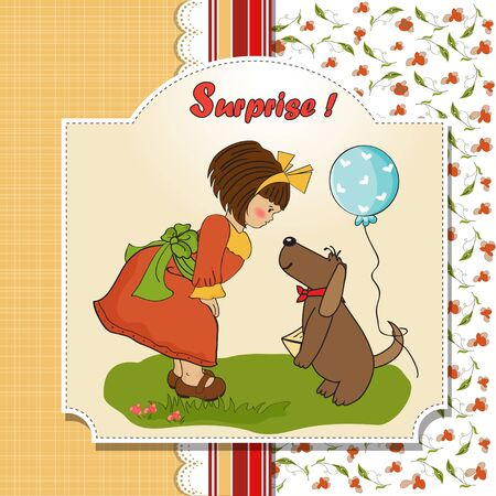 specifically: young girl and her dog in a wonderful birthday greeting card