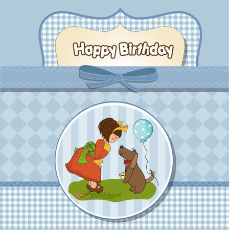 provide: young girl and her dog in a wonderful birthday greeting card