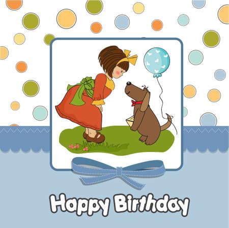 dar un regalo: niña y su perro en una tarjeta de felicitación de cumpleaños maravilloso