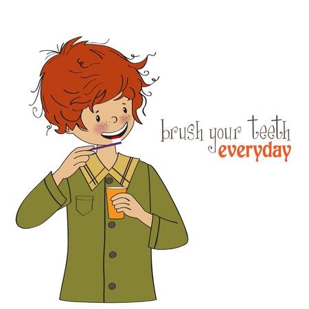 healthy habits: Un ni�o se lava los dientes