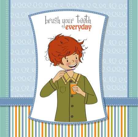 habits: A boy brushing his teeth