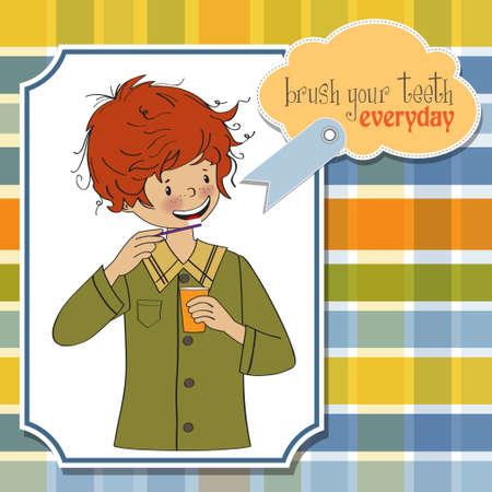 habitos saludables: Un niño se lava los dientes