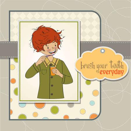 higiene bucal: Un niño se lava los dientes