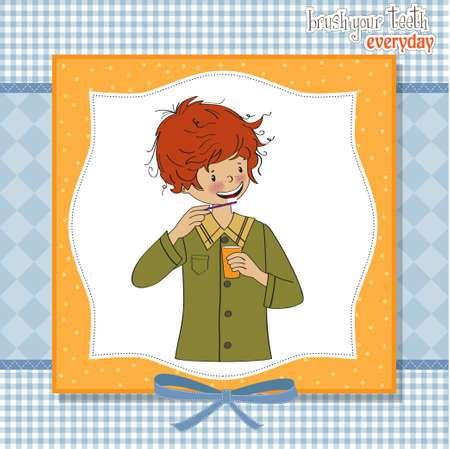 A boy brushing his teeth  Stock Vector - 12704174
