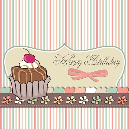 birthday card with cupcake  Vector
