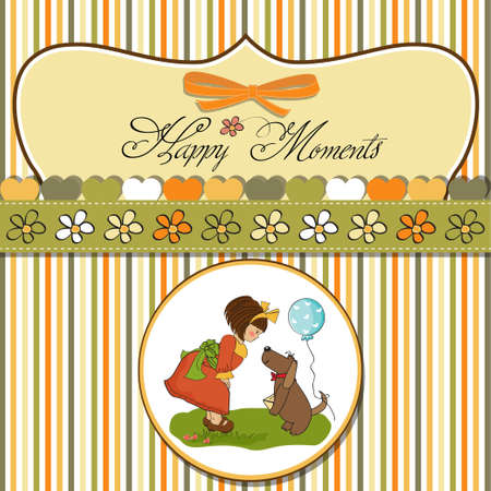young girl and her dog in a wonderful birthday greeting card  Vector