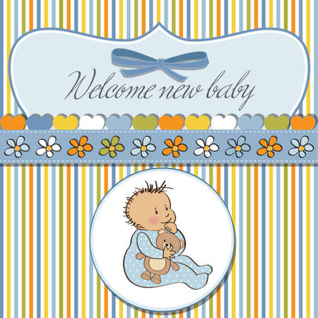 romantic baby shower card  Stock Vector - 12703310