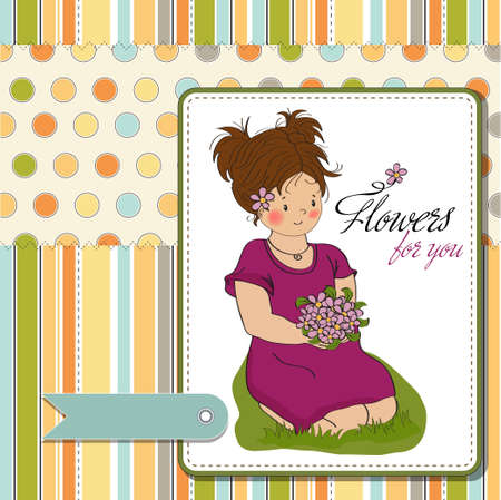 siting: young girl with a bouquet of flowers birthday greeting card