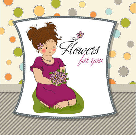 young girl with a bouquet of flowers birthday greeting card  Vector