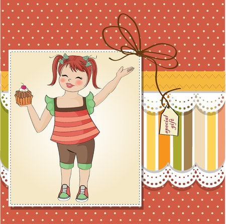 birthday greeting card with girl and big cupcake Stock Vector - 12704215