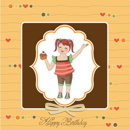 dar un regalo: cumpleaños de la tarjeta de felicitación con la chica y la grande de la magdalena