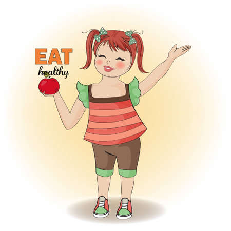 pretty young girl recommends healthy food Stock Vector - 12704320