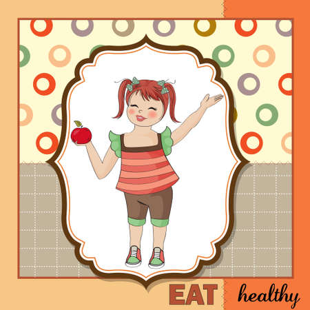 pretty young girl recommends healthy food  Stock Vector - 12703372