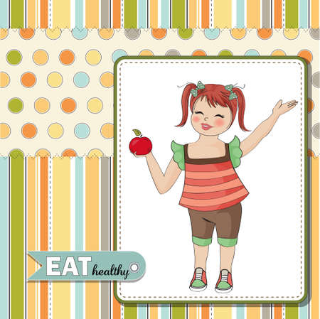 health education: pretty young girl recommends healthy food