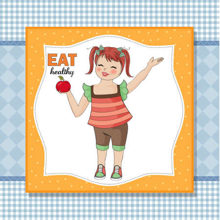 eat healthy: pretty young girl recommends healthy food
