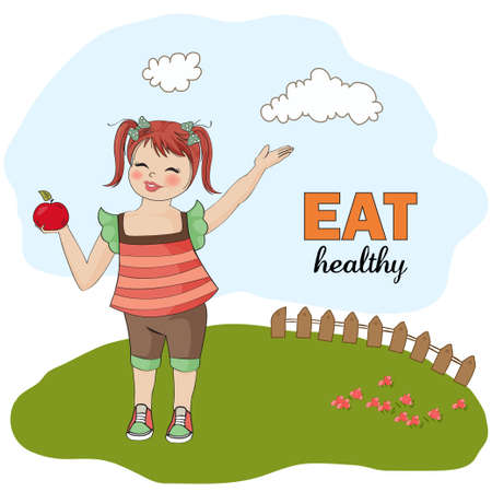 Fat kid: pretty young girl recommends healthy food