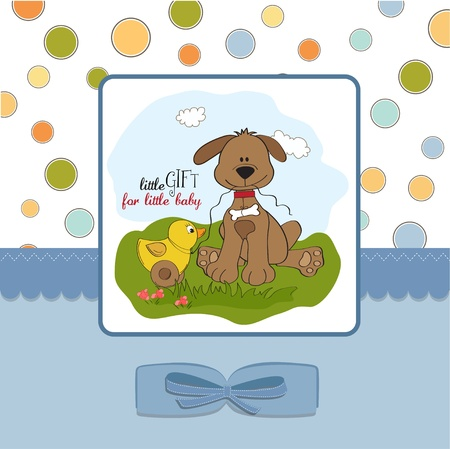 baptism background: baby shower card with dog and duck toy