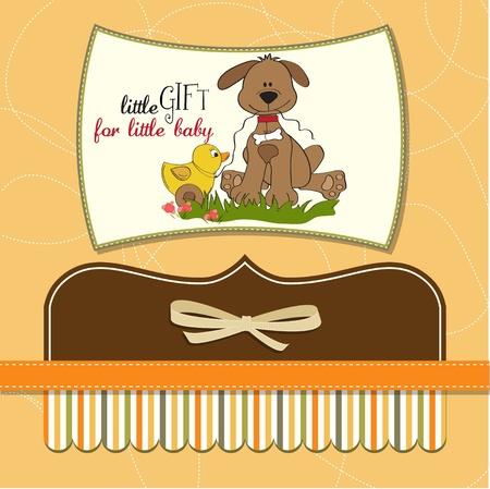 niños con pancarta: Tarjeta de Baby Shower con el juguete del perro y el pato
