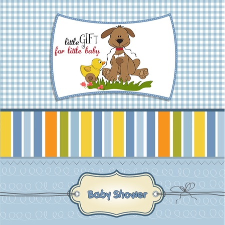child birth: baby shower card with dog and duck toy