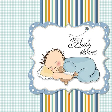 bebé dormir niño con su osito de peluche