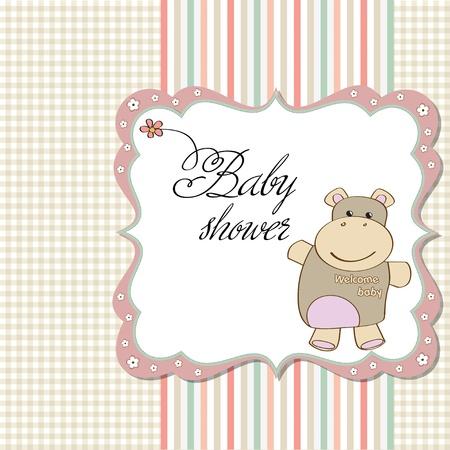 niña de infantil de bienvenida al bebé hipopótamo tarjeta con juguetes