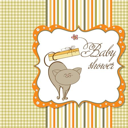 baby shower card with cat  Stock Vector - 12748896