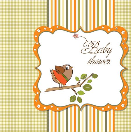cute baby girls: welcome card with funny little bird