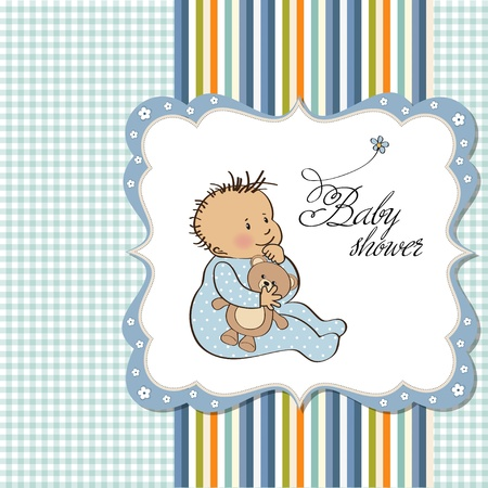 baby announcement card with little boy  Stock Vector - 12748888