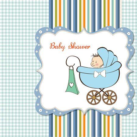 geburt: baby boy Ank�ndigung Karte mit Baby und Kinderwagen Illustration