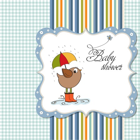 baby boy shower: baby boy shower card with little bird stand in the rain  Illustration