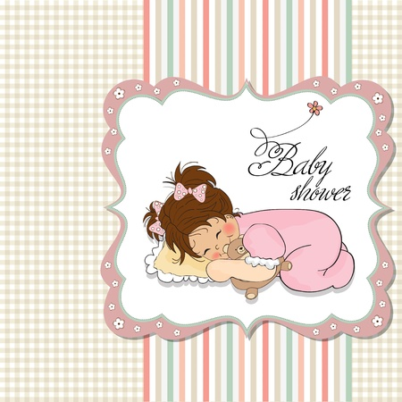 gentle: little baby girl play with her teddy bear toy  Illustration
