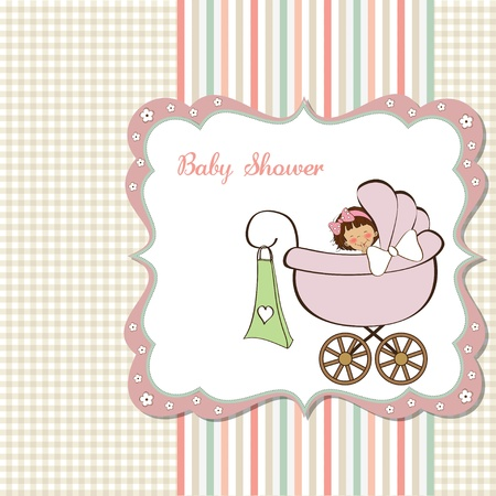 baby girl announcement card  Stock Vector - 12748902