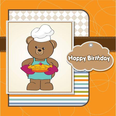 teddy bear with pie  birthday greeting card  Vector