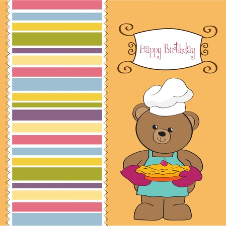 teddy bear with pie  birthday greeting card  Vector