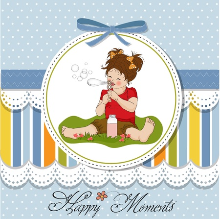funny lovely little girl blowing soap bubbles  Vector