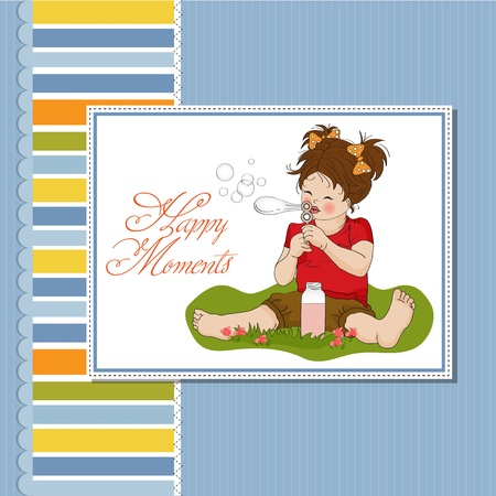 funny lovely little girl blowing soap bubbles  Stock Vector - 12786122