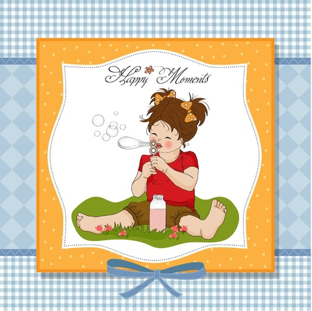 funny lovely little girl blowing soap bubbles  Stock Vector - 12786255