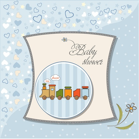 baby shower card with toy train Stock Vector - 12786096