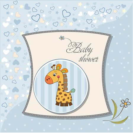 new baby boy announcement card with giraffe Stock Vector - 12786092
