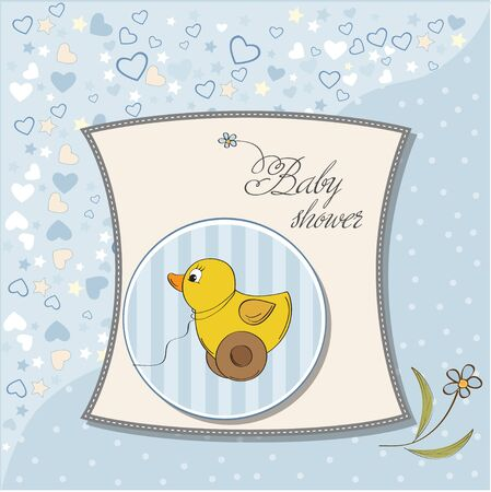 welcome baby boy card with duck toy Vector