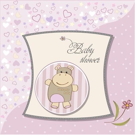 childish baby girl shower card with hippo toy Stock Vector - 12786093