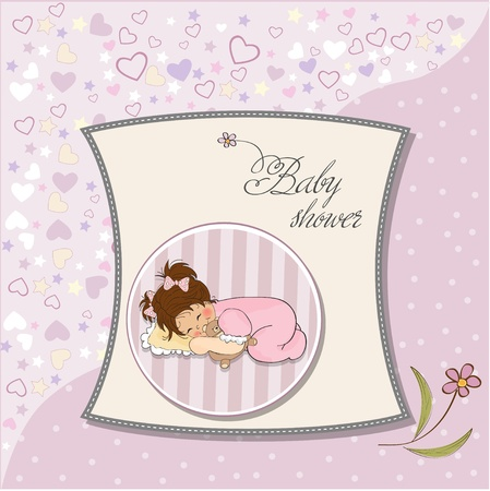 little baby girl play with her teddy bear toy  new baby announcement card Stock Vector - 12786132